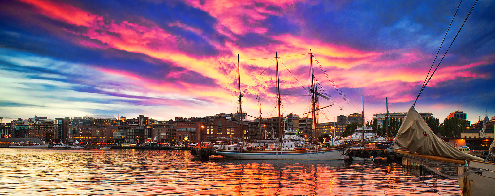 Oslo with a scarlet and yellow sunset
