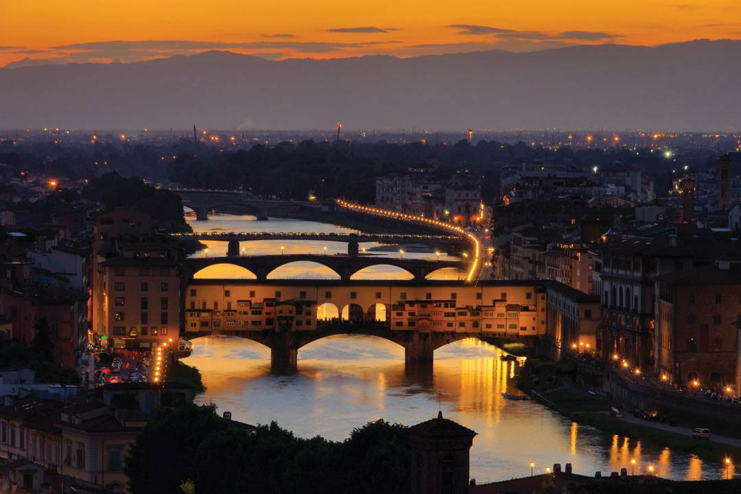 The medieval town of Florence at twilight