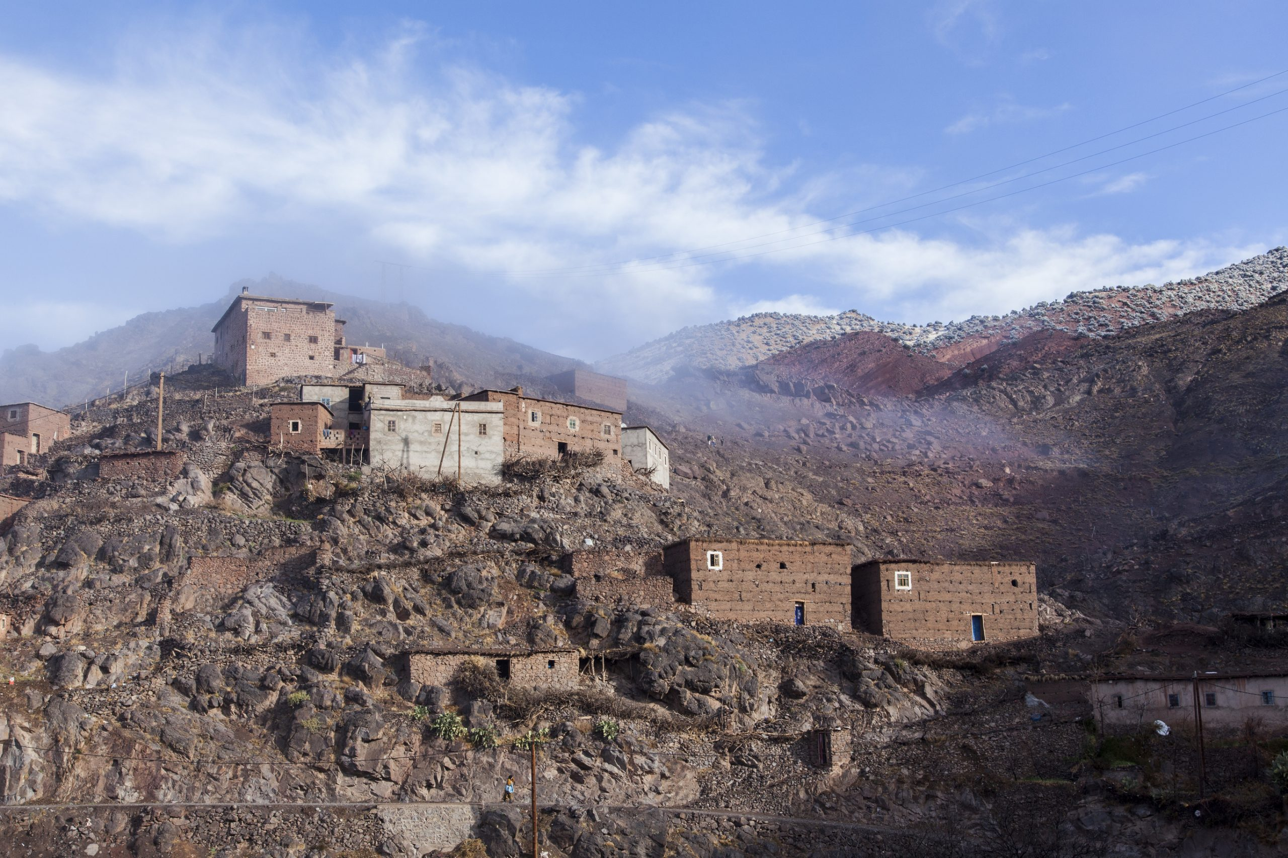 A typical Berber village high in the Atlas Mountains shrouded by mist