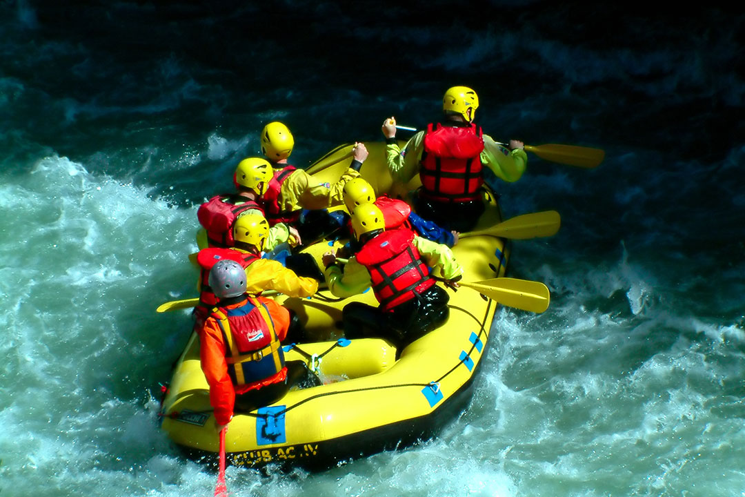 A group tackles the white water rapids!