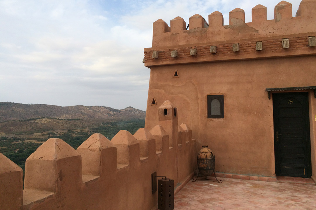 View across the Atlas Mountains from a traditional kasbah