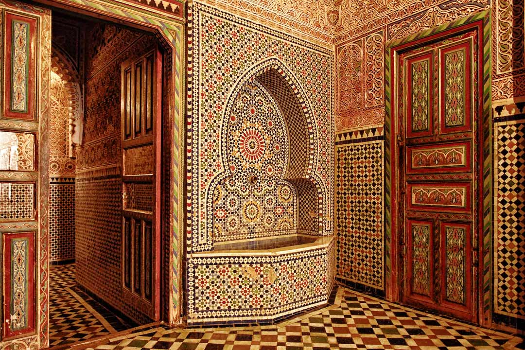 A traditional Moroccan Riyadh covered in beautiful geometric mosaic