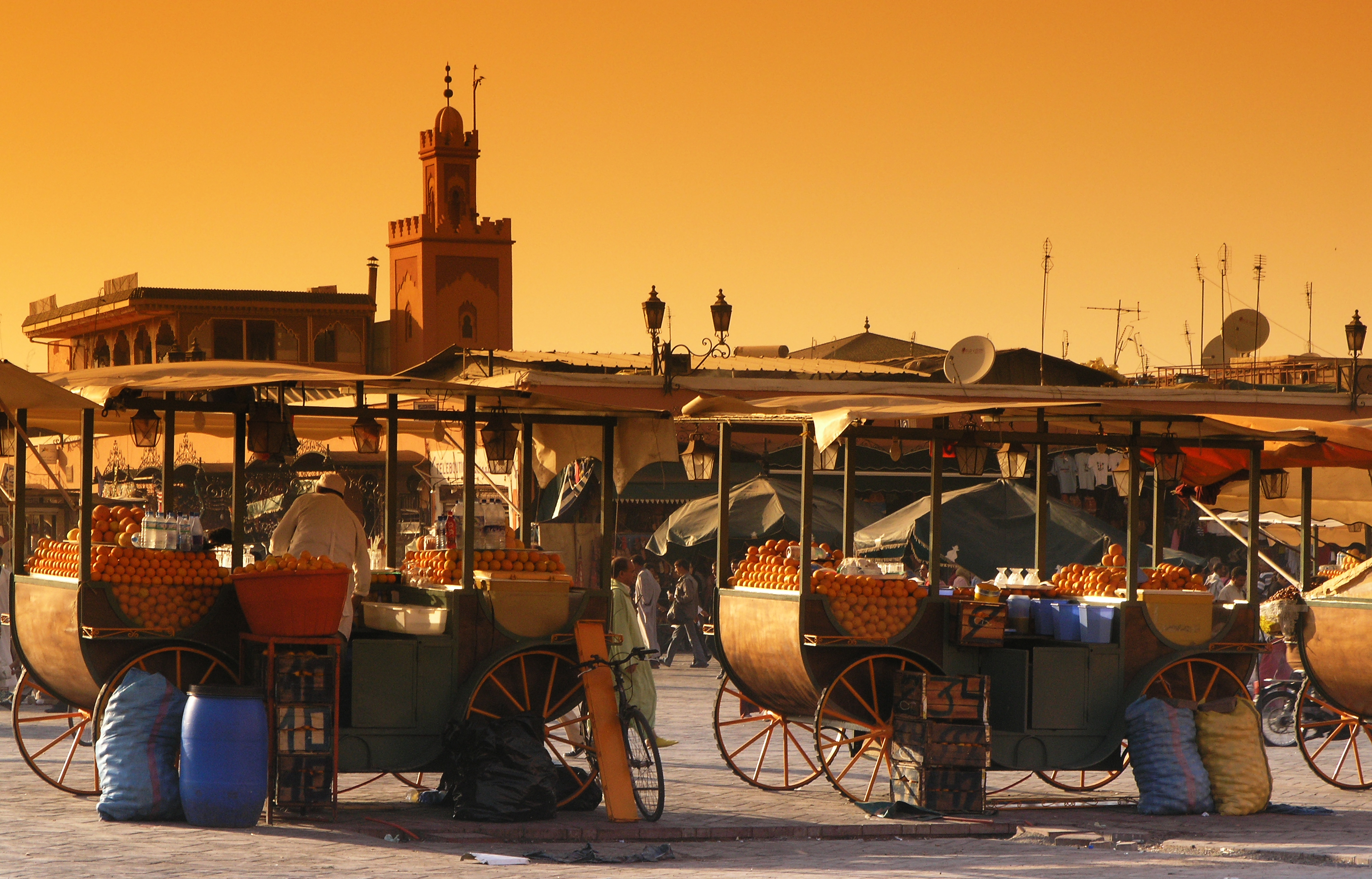 Stalls on wheels laden with stacks of oranges line up ready to sell in Marrakech Djemaa El Fna