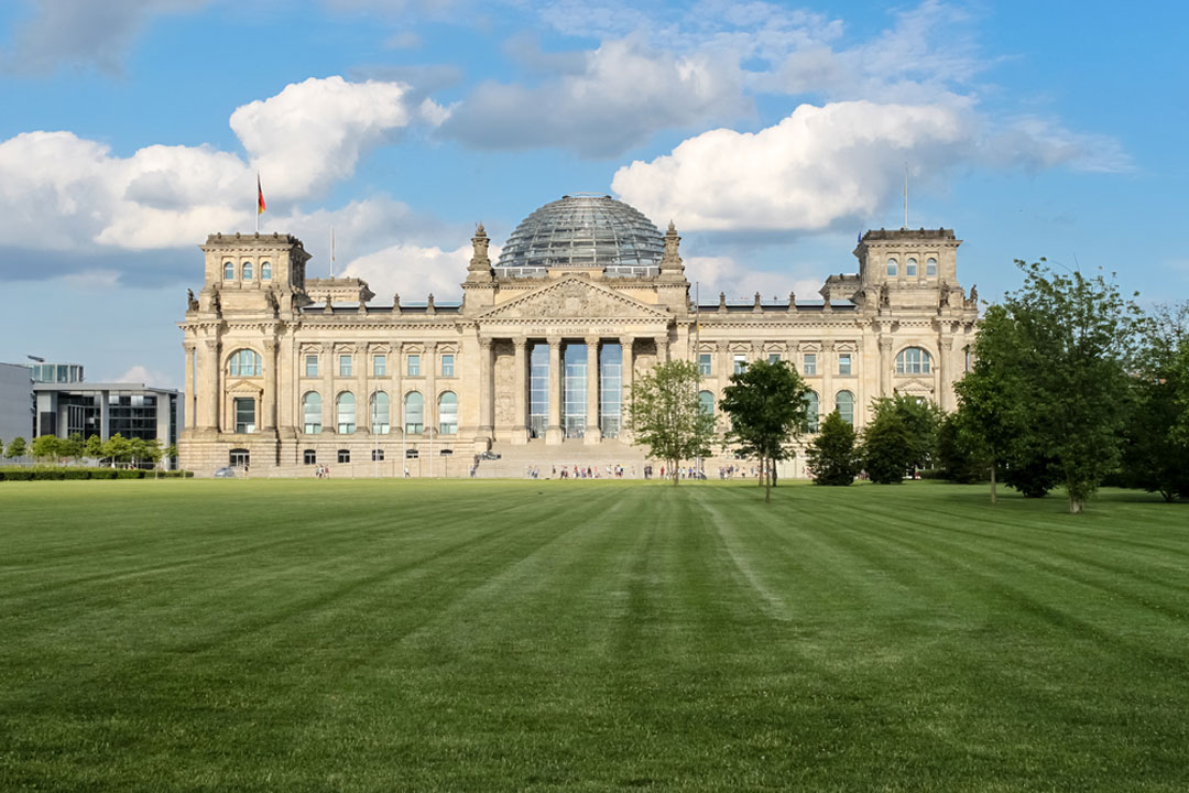 The Bundestag with grass in foreground