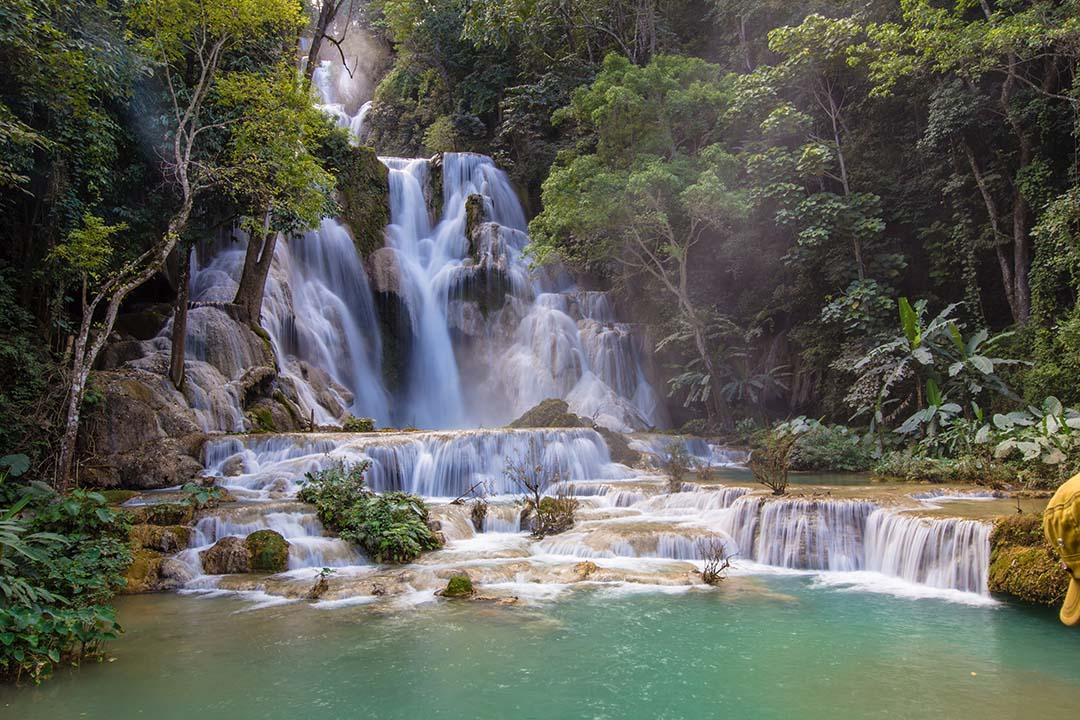 The cascading Kuang Si Waterfall in Luang Prabang