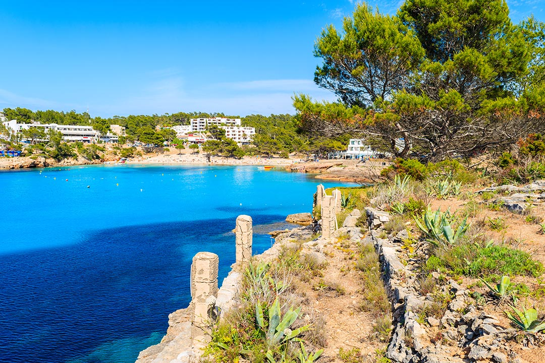 Cala Potinatx beach on the island of Ibizain the Mediterranean Sea off the east coast of Spain. It is the third largest of the Balearic Islands.