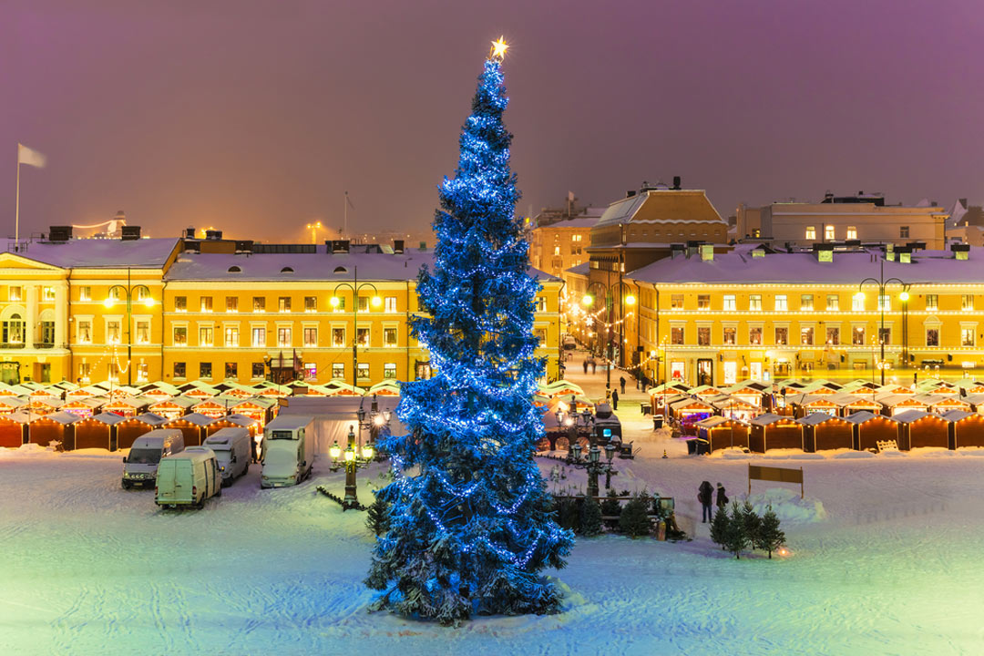 Christmas tree in the snow in Helsinki. Tree has blue lights and the buildings in the background are lit up with a yellow glow.