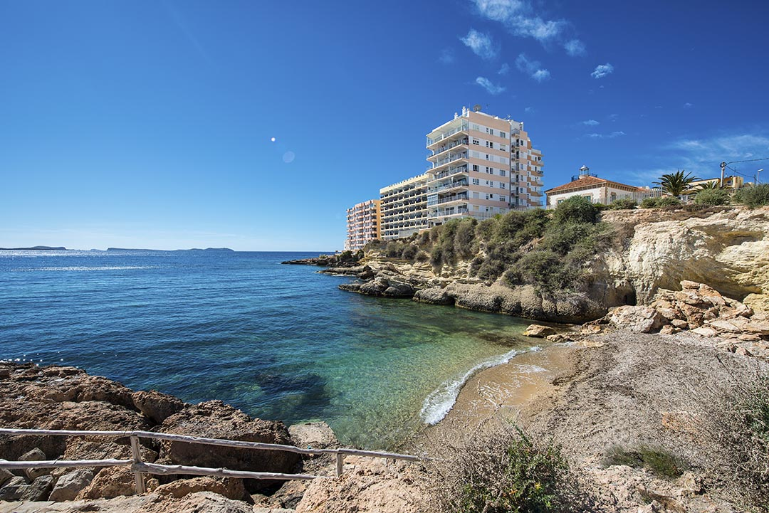 Tower Block by the sea on the way to the Sunset Strip in Ibiza