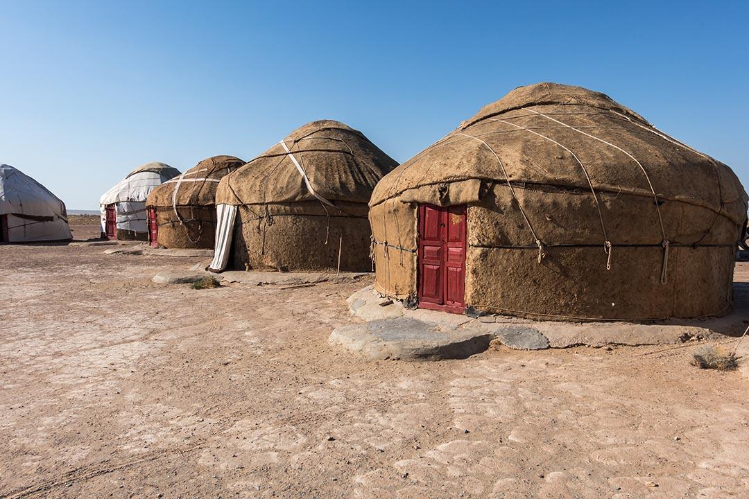 Yurt camp in Kyzylkum desert, Uzbekistan