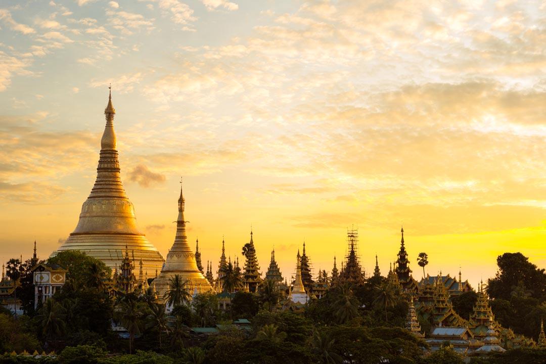 golden temples at sunrise