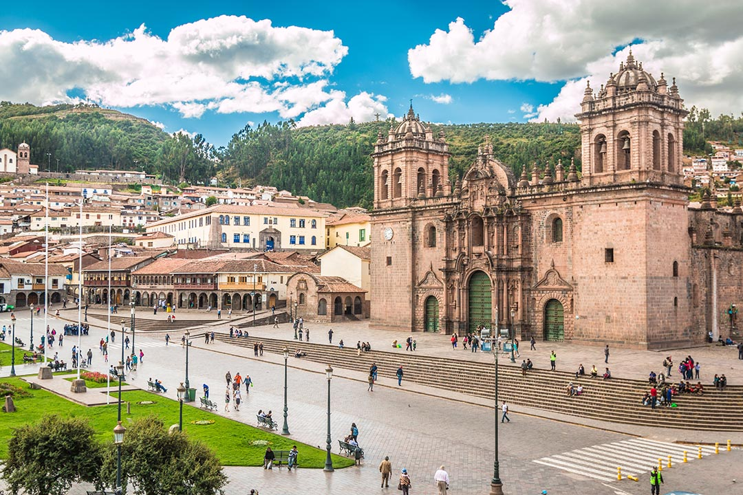A view Cusco Cathedral in Peru with pedestrianised area at the front of the cathedral
