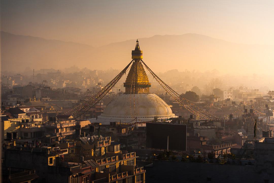White stupa with gold top in Kathmandu