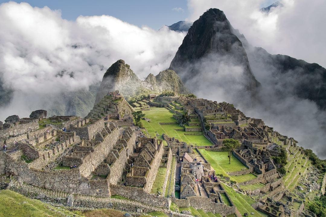 View of a misty Machu Picchu