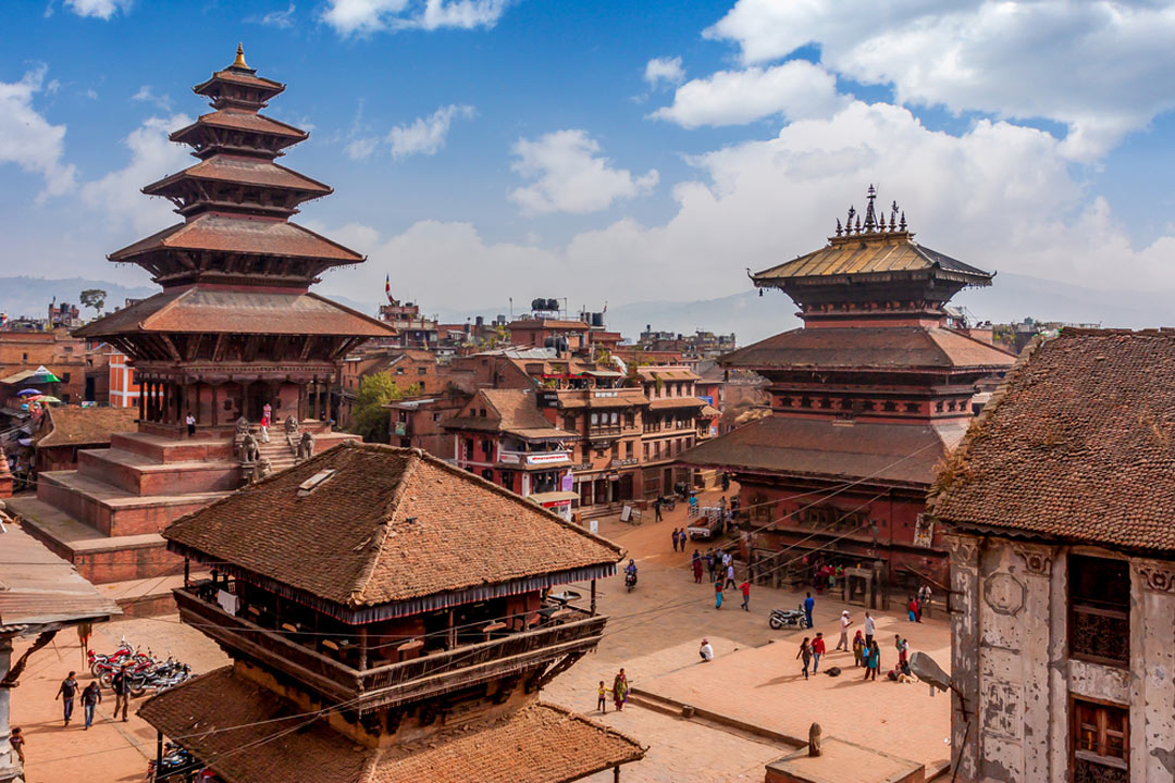 Kathmandu Durbar Square with wooden tiered temples