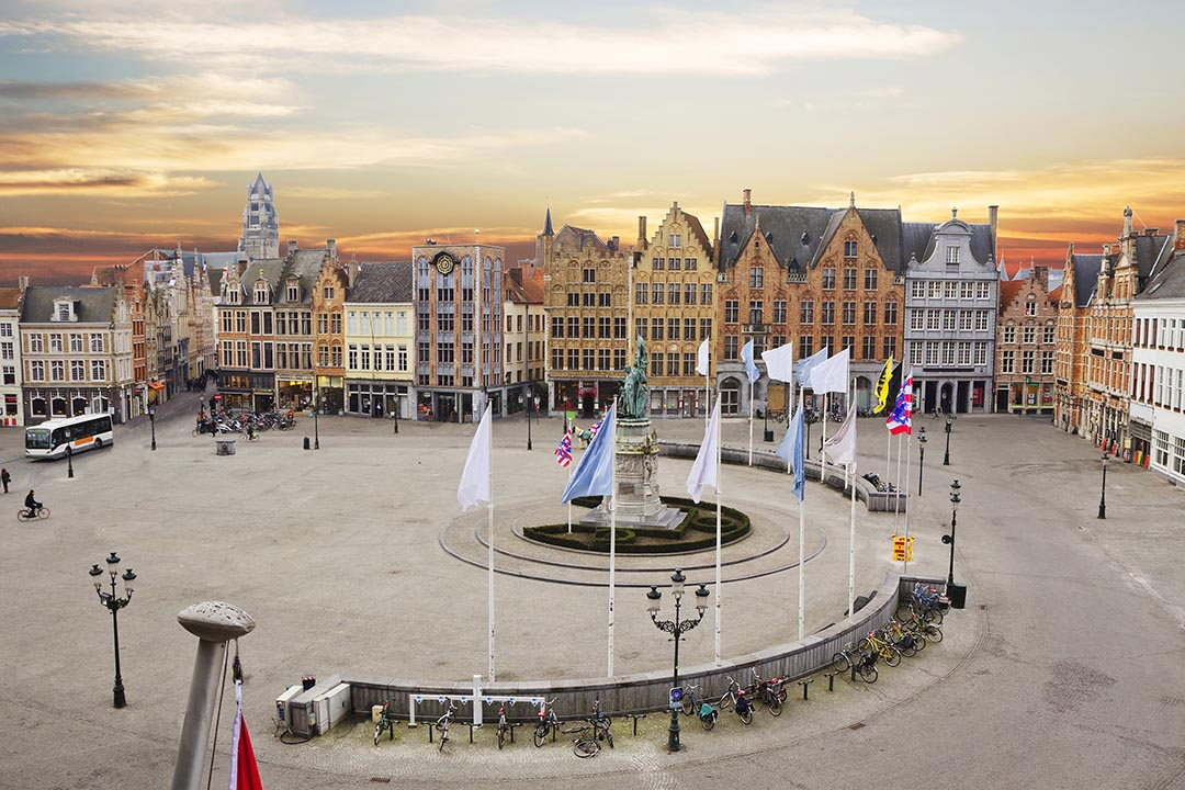 Market square of Bruges with spiral walkway in the centre.