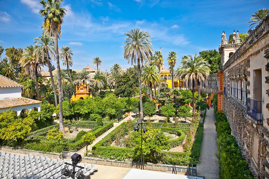 The Real Alcazar gardens in Seville - square gardens dotted with palm trees.