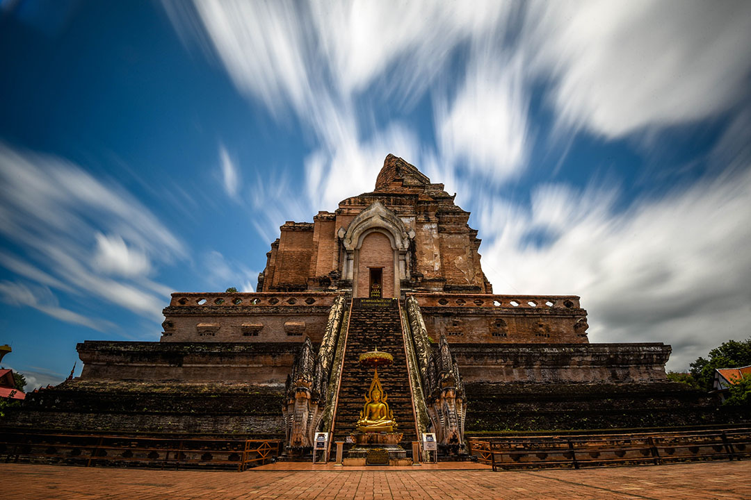 Wat Chedi Luang Temple in Chiang Mai - a temple built high atop stone and can be seen throughout the city
