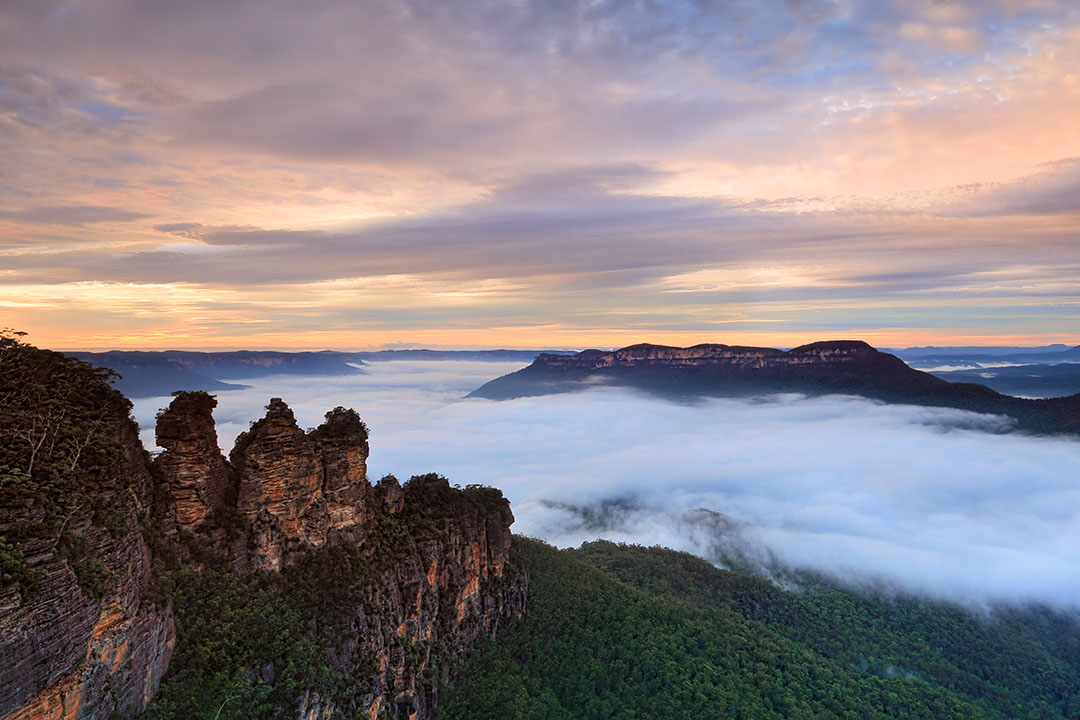 Blue mist coating the region of the Blue Mountains at dusk.