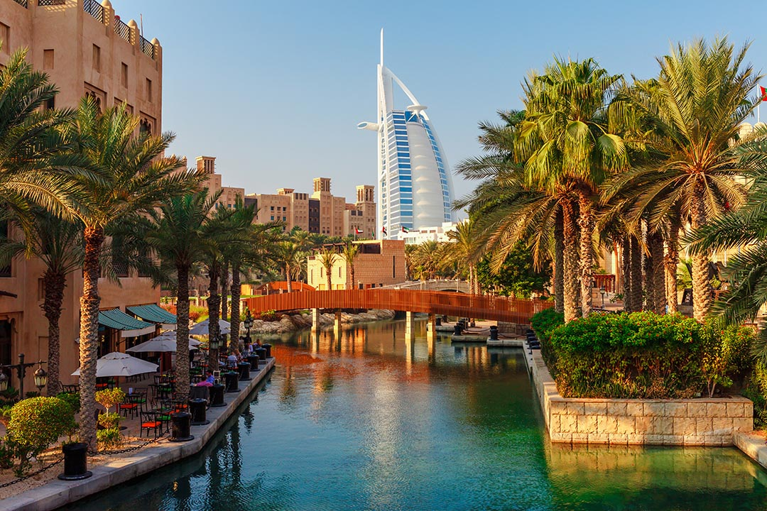 Cityscape with beautiful park and palm trees in Dubai, UAE