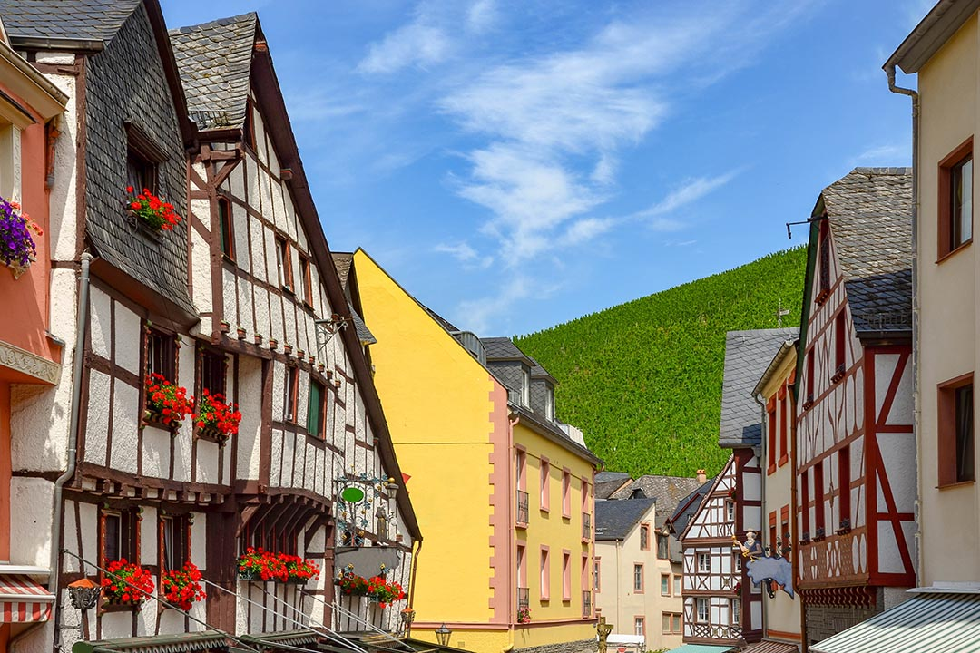 View to market square and timbered houses in the old town, Germany Europe