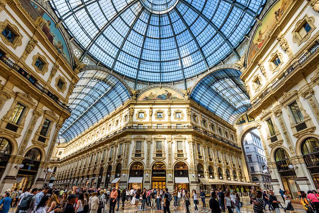the galleria vittorio emanuele i, Milan's most famed shopping centre. Impressive and grand architecture with a glass panelled roof