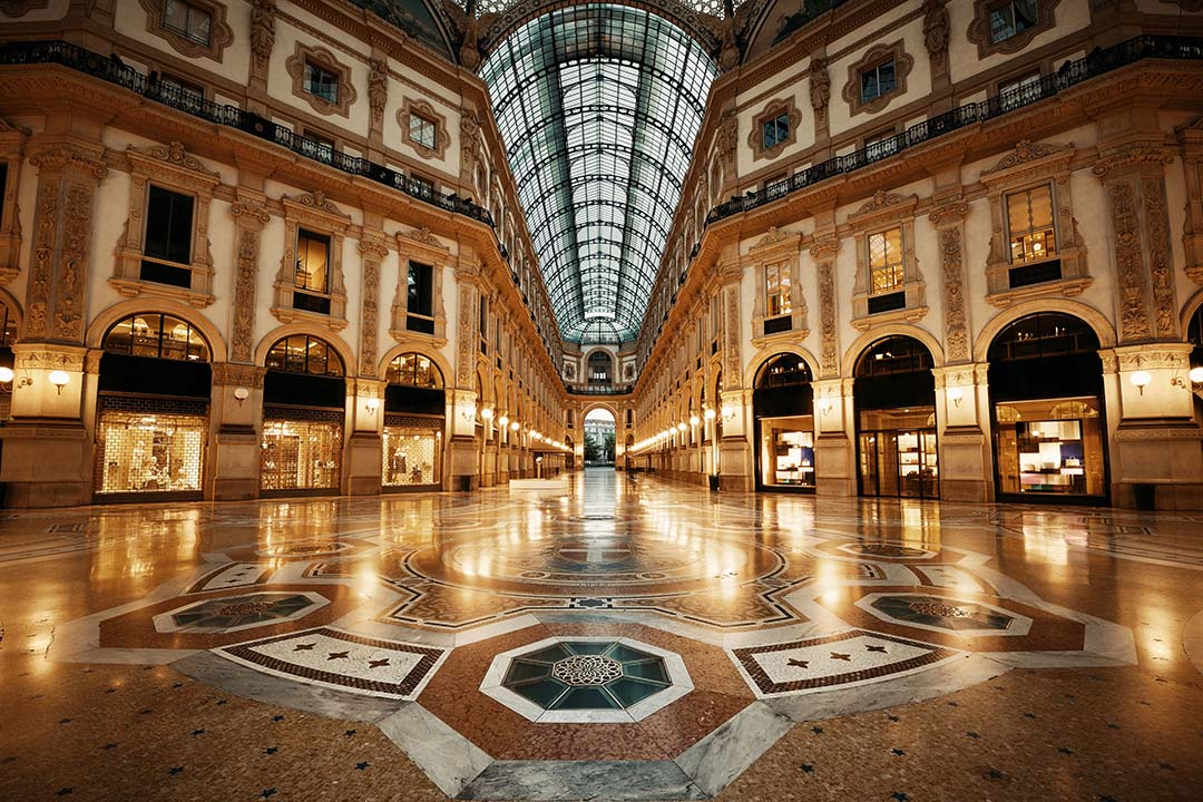 the galleria vittorio emanuele ii. The grand floor with a multitude of patterns