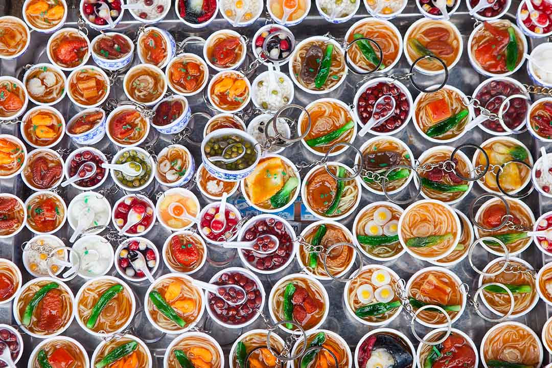 An array of Vietnamese dishes from an aerial perspective.