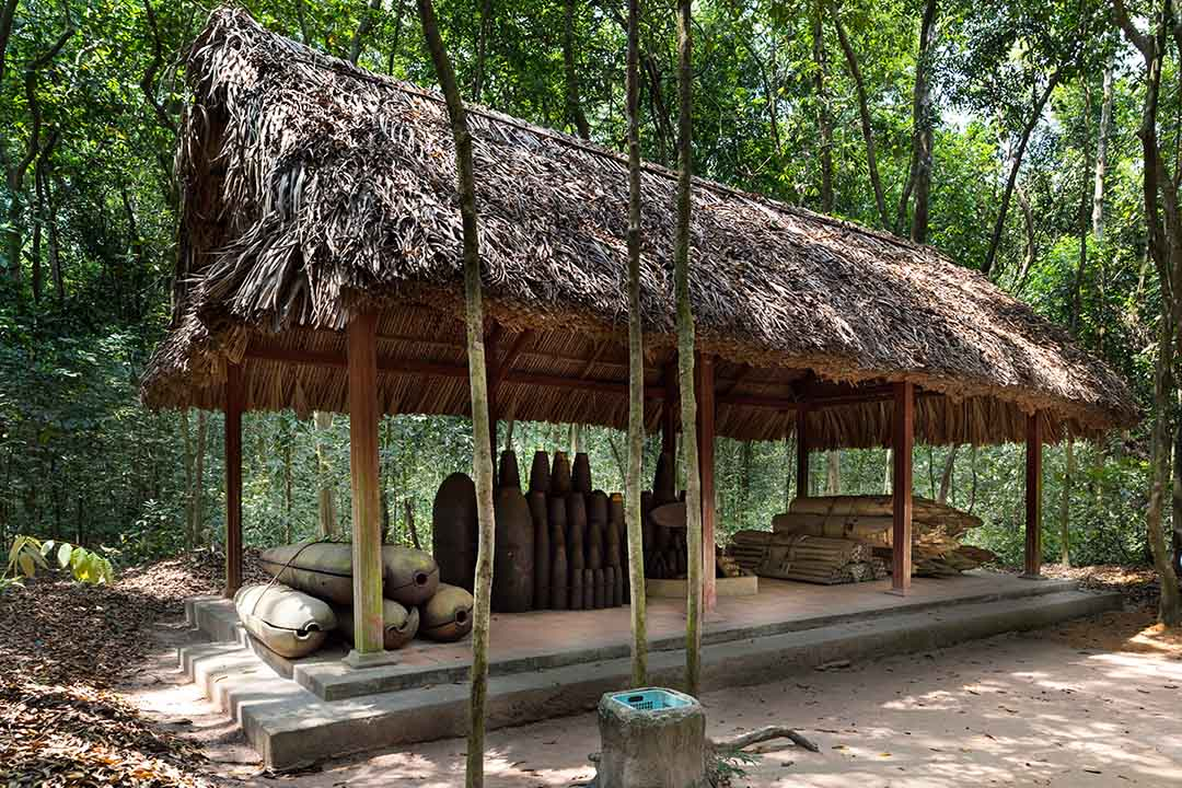 A shelter at the Cu Chi Tunnels, filled with combat materials.