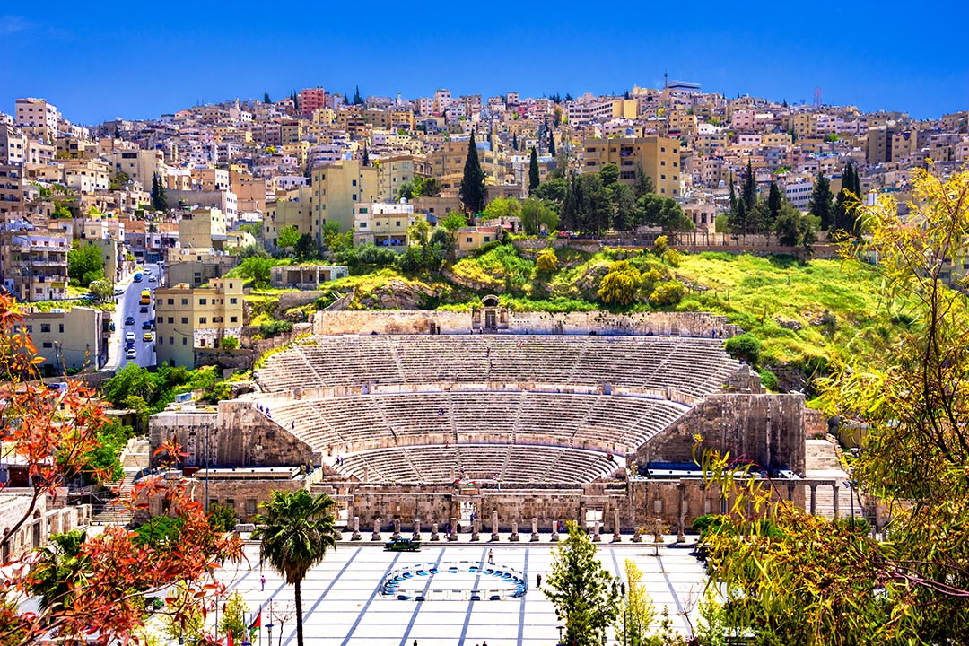 View of the Roman Theater and the city of Amman, Jordan