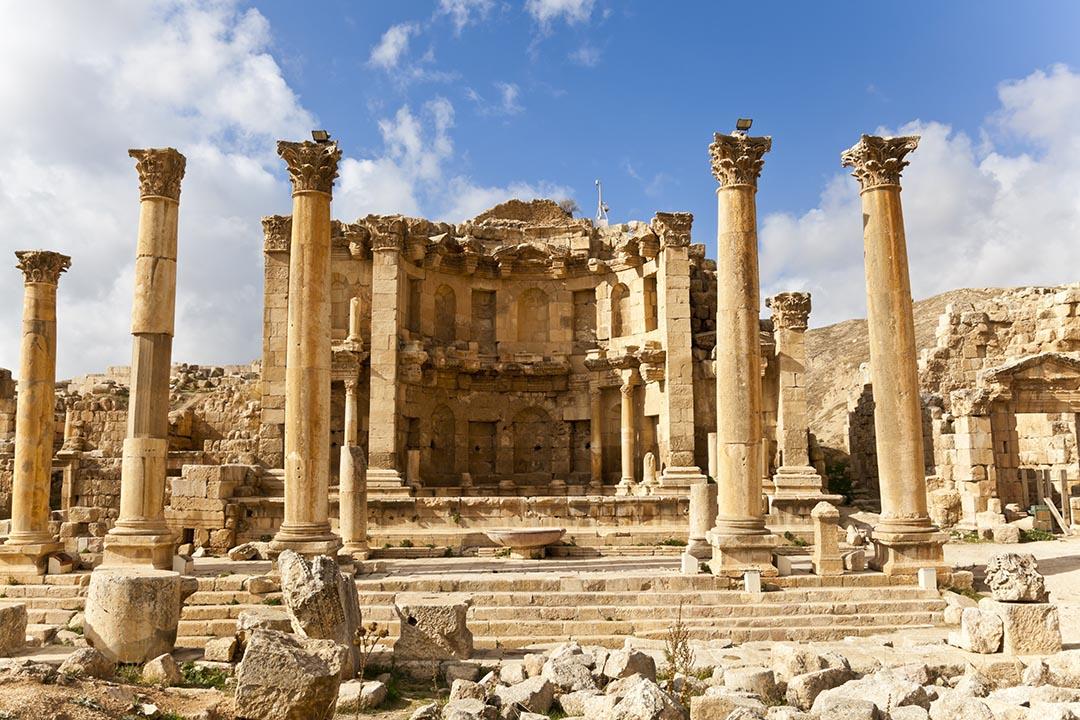 The nymphaeum in the roman ancient city of Jerash, Jordan.