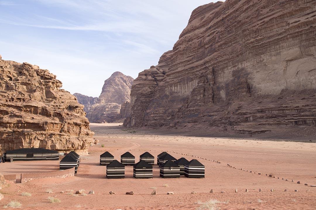 Black Bedouin tourist tents in the Wadi Rum desert in Jordan.