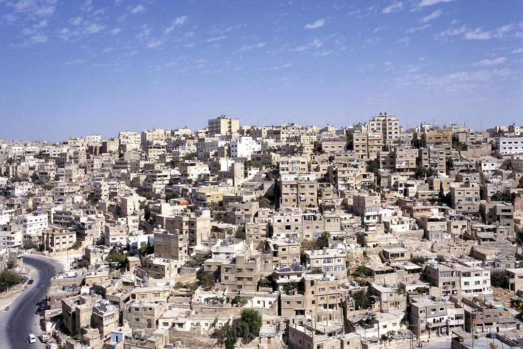 Aerial view of the white buildings Amman the capital of Jordan.
