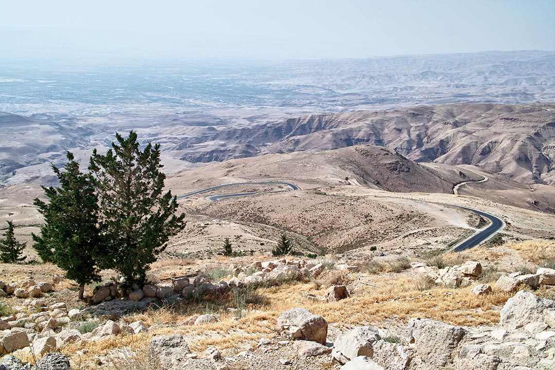 View of Moses' Promised Land from Mt. Nebo Madaba, Jordan.