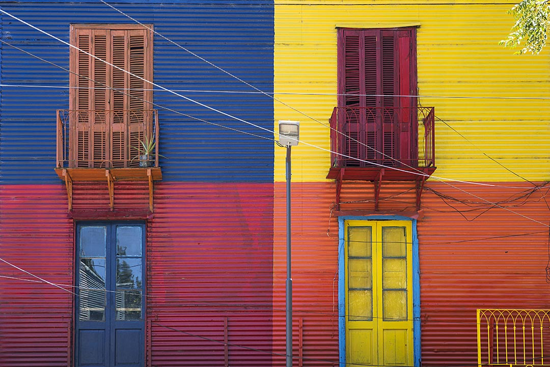 Detail from a colourful facade from Caminito in La Boca, Buenos Aires, Argentina