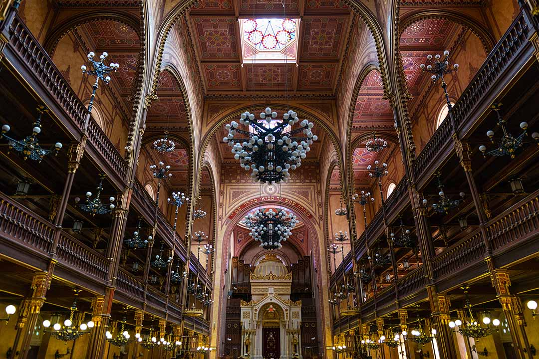 Interior of the Great Synagogue in Budapest.