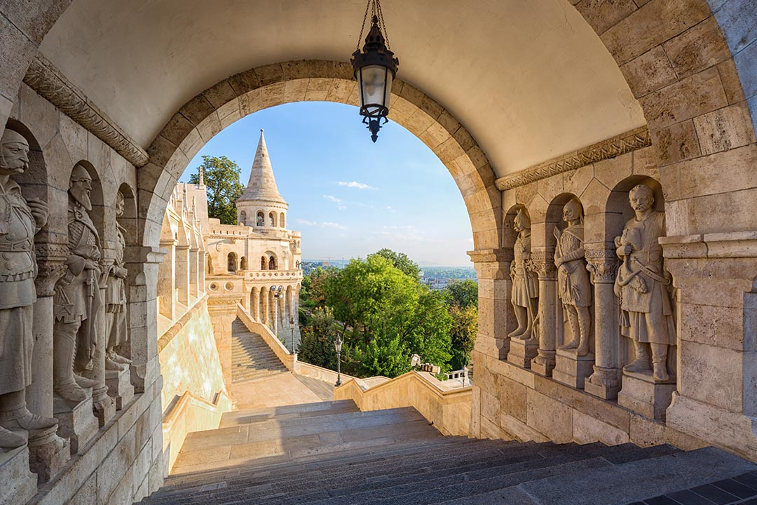 A view through an archway at Fisherman's Bastion.