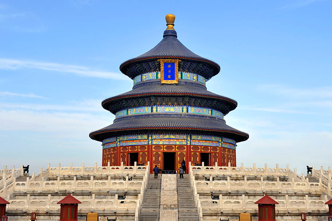 The aesthetically pleasing Temple of Heaven with three tiered rooflines and decorated in Chinese symbols