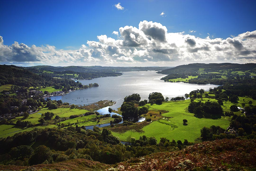 A view looking down the length of Lake Windermere