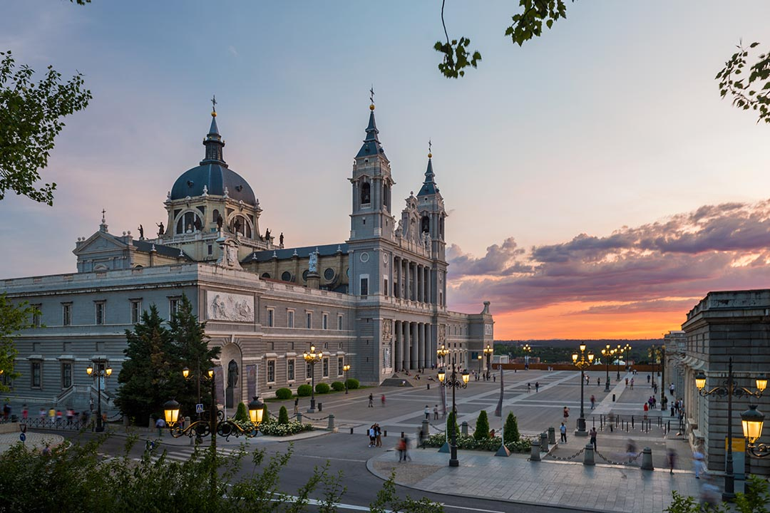 A view of the Cathedral of La Almudena at dusk.