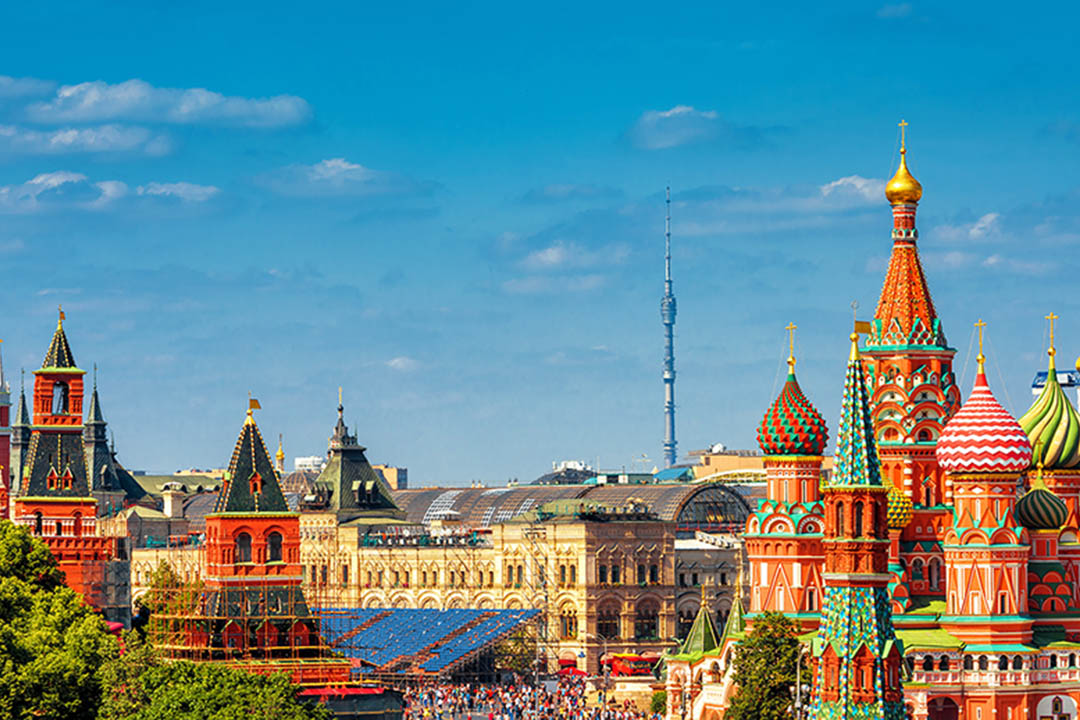 A panoramic view of the Red Square in Moscow.