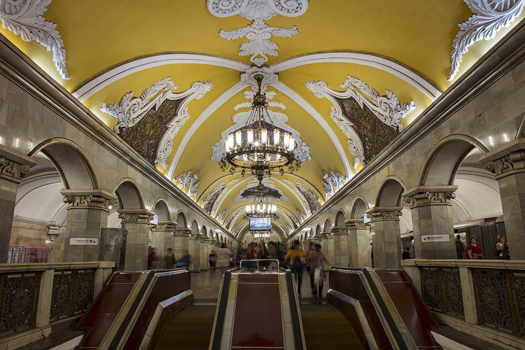 Inside the Komsomolskaya Metro Station in Moscow