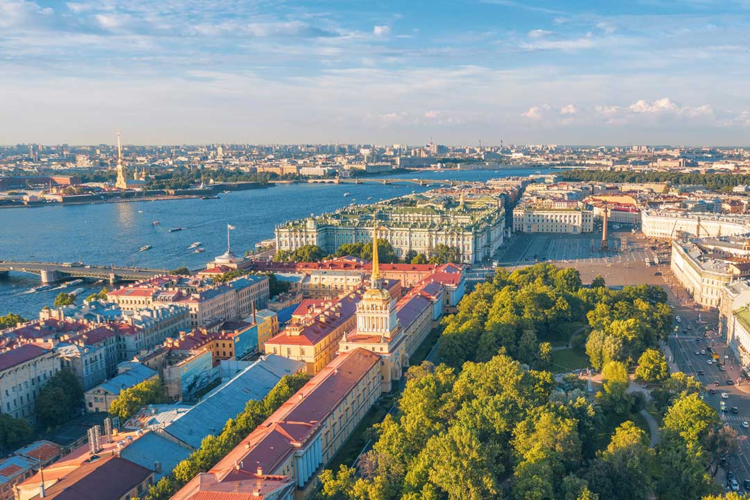 Aerial top view of the Admiralty, Alexander Garden, Palace Square and the Hermitage