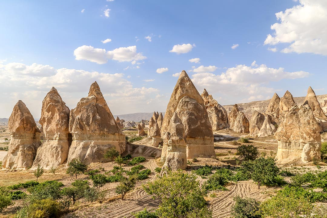 Caves and an ancient town dug out of the mushroom like rock formations in Cappadocia