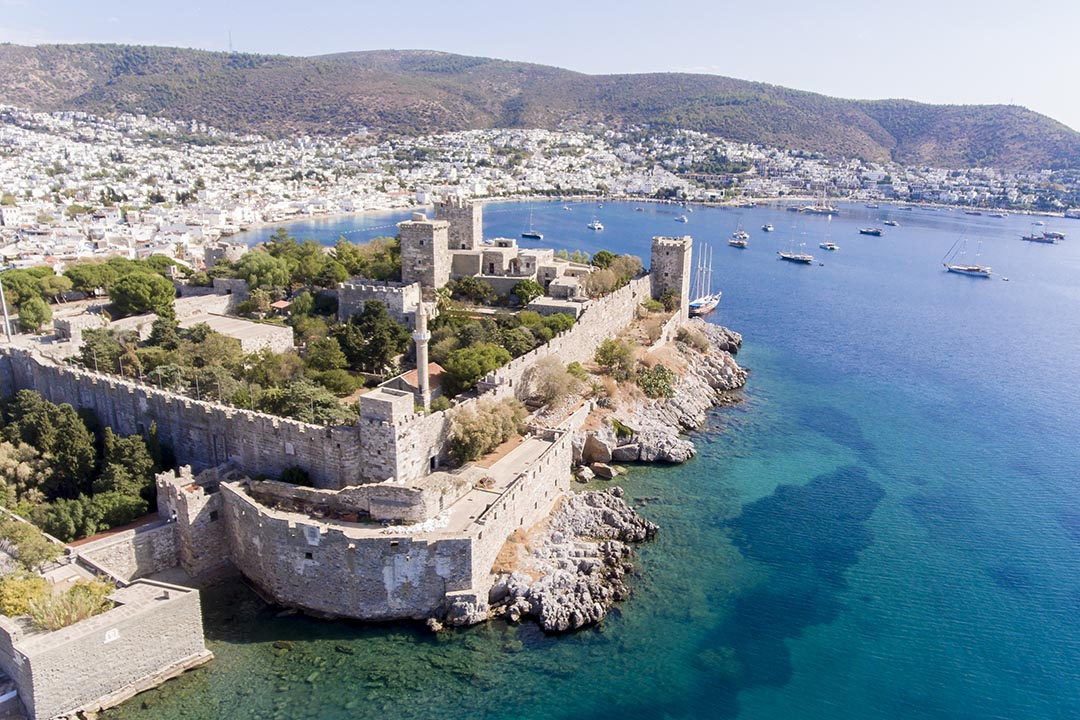 Aerial view of Bodrum and the blue sea on Turkish Riviera.