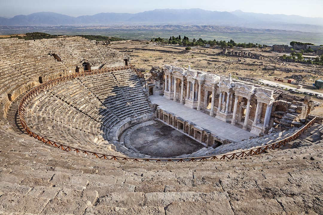 An aerial view of Hierapolis Theater in Turkey