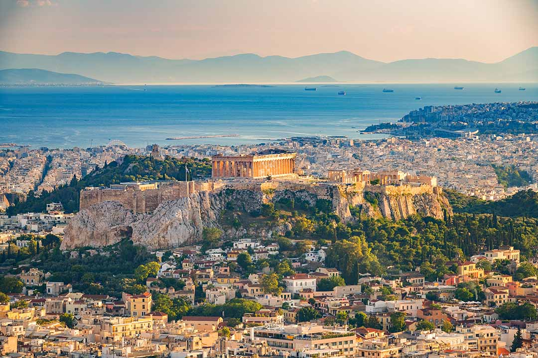 Panoramic aerial view of Athens, Greece on a summer day