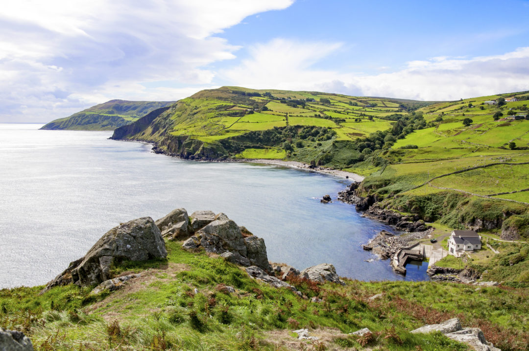 Northern coast, a bay and a small harbor in County Antrim
