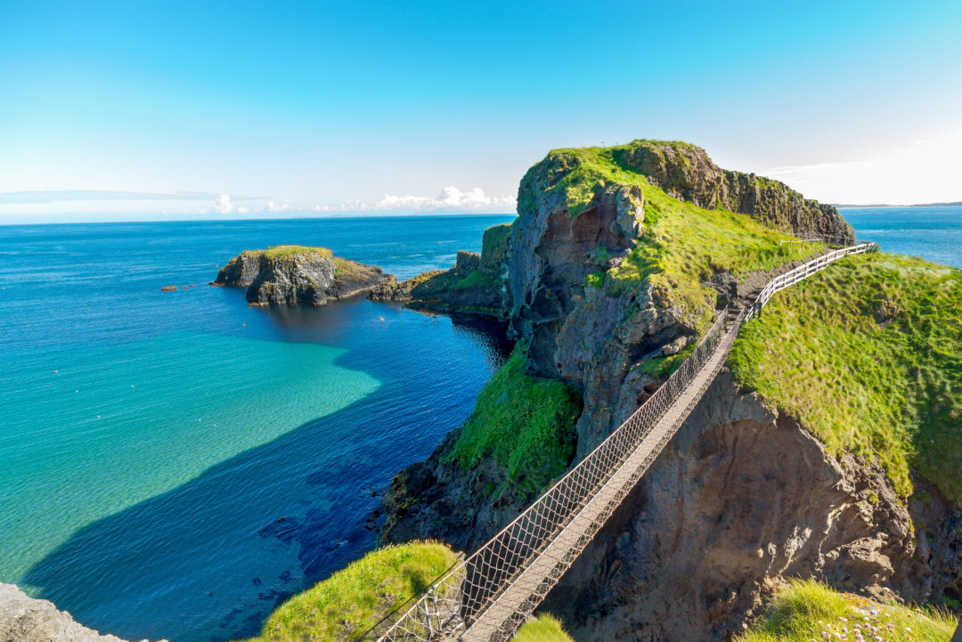 Northern Irelands famous rope bridge, Carrick-a-Rede crosses a canyon