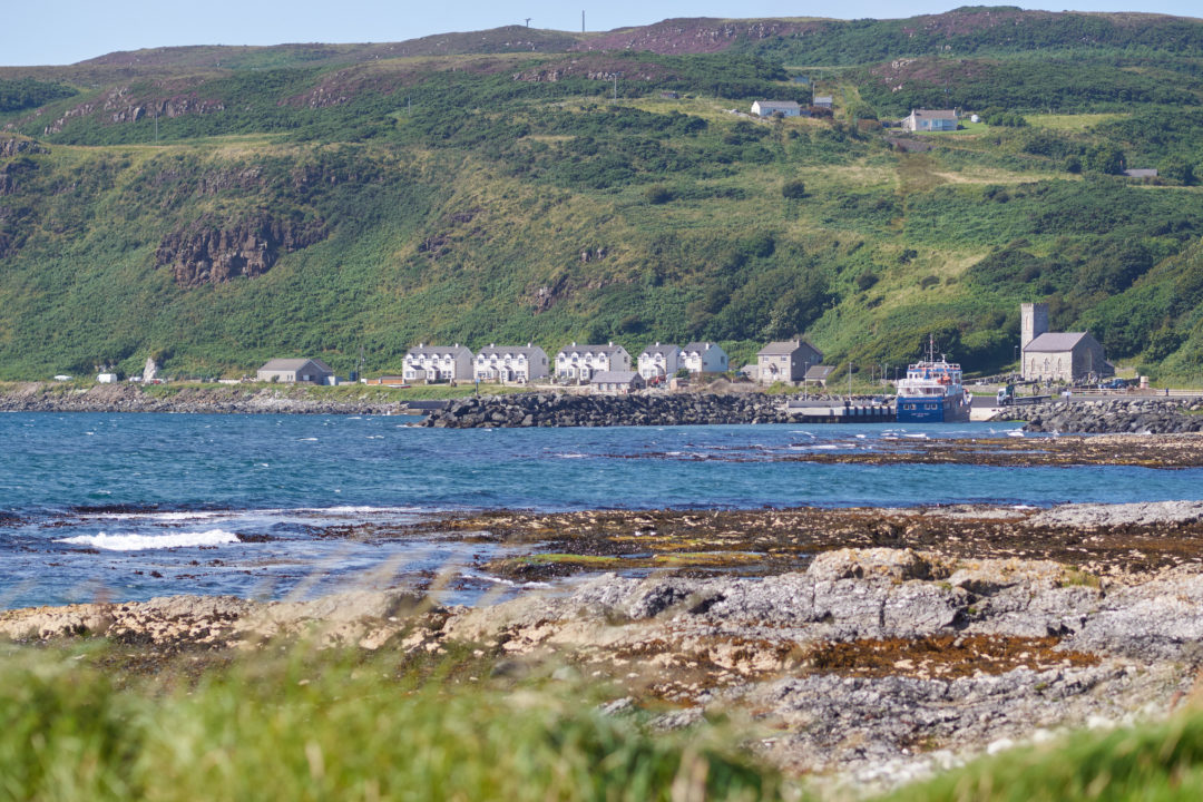 White houses and a church on Rathlin Island, Northern Ireland