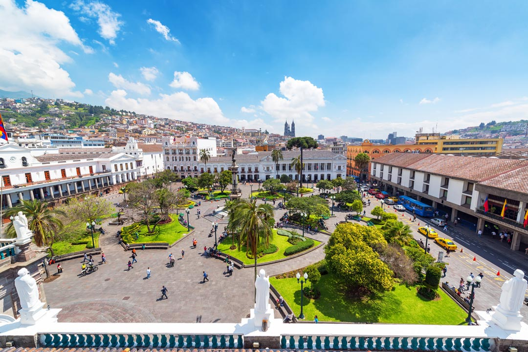 A view of the square of Quite, where the Spanish colonial influences can be seen